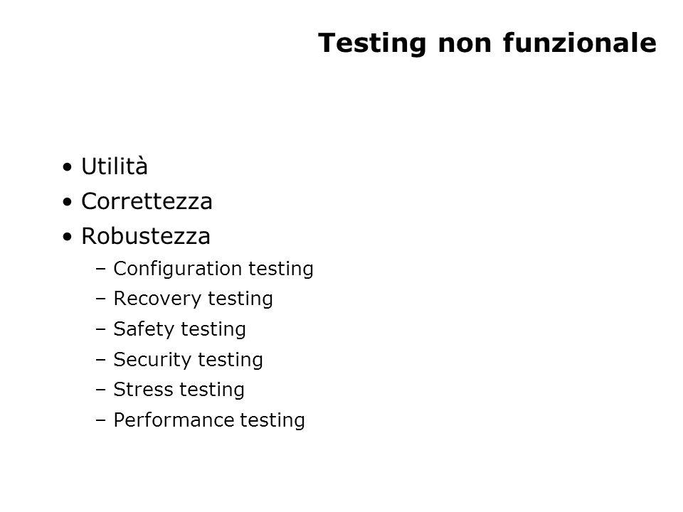 Testing non funzionale Utilità Correttezza Robustezza – Configuration testing – Recovery testing – Safety testing – Security testing – Stress testing – Performance testing