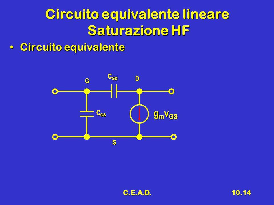 C.E.A.D.10.14 Circuito equivalente lineare Saturazione HF Circuito equivalenteCircuito equivalente G D S g m v GS C GD C GS