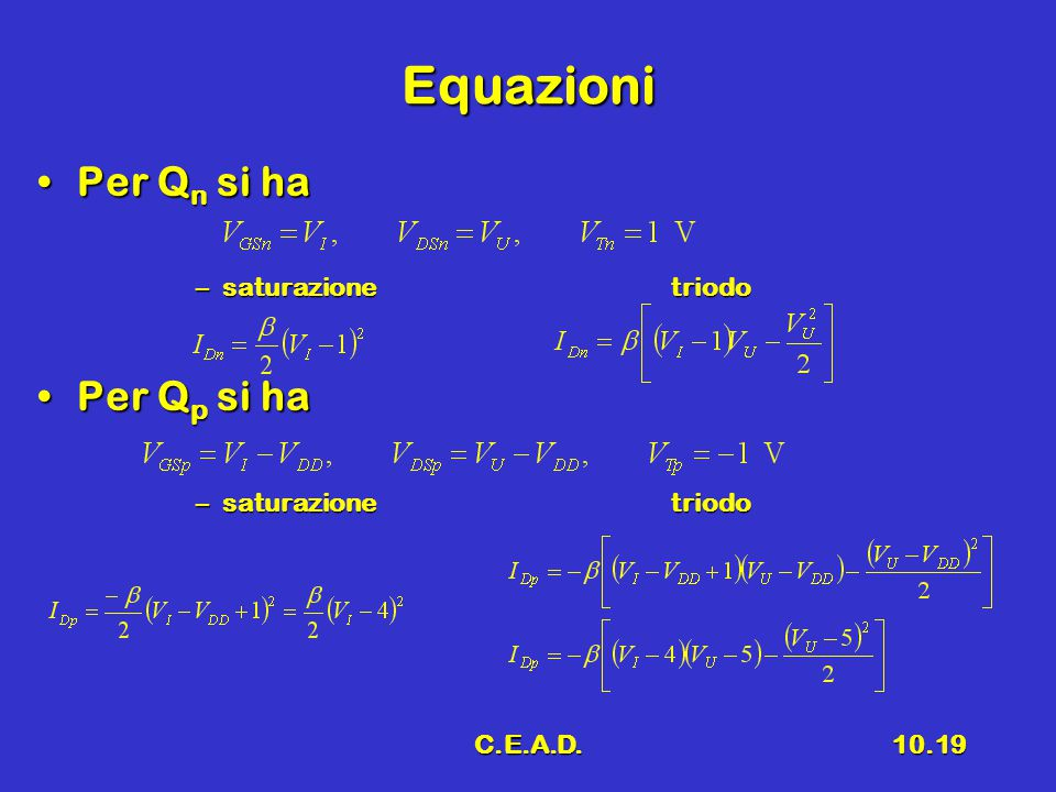 C.E.A.D.10.19 Equazioni Per Q n si haPer Q n si ha –saturazionetriodo Per Q p si haPer Q p si ha –saturazionetriodo