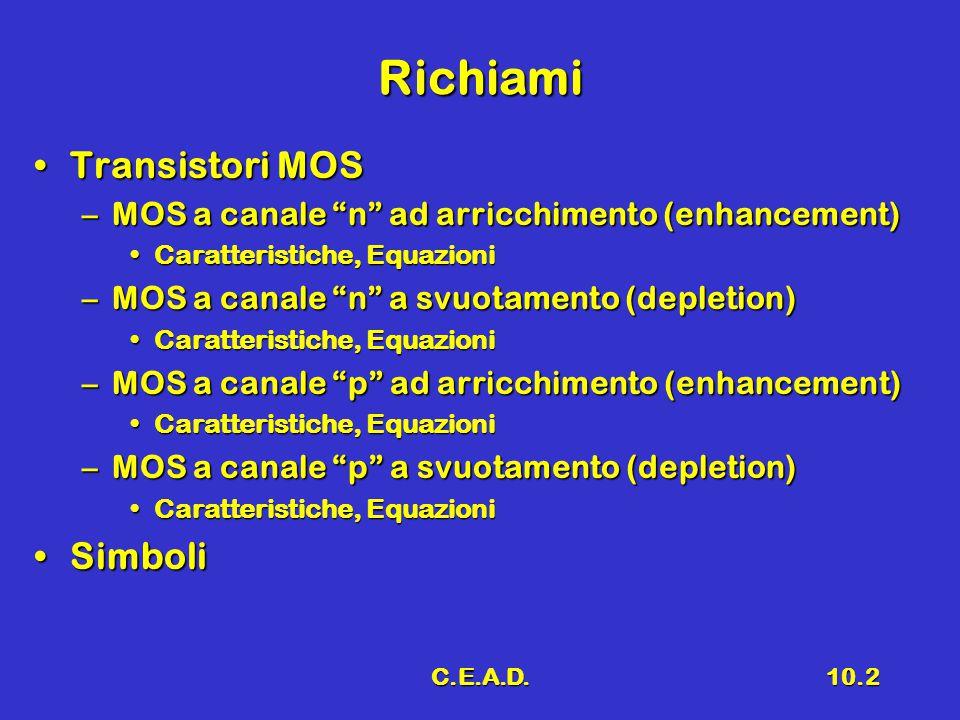 """C.E.A.D.10.2 Richiami Transistori MOSTransistori MOS –MOS a canale """"n"""" ad arricchimento (enhancement) Caratteristiche, EquazioniCaratteristiche, Equaz"""