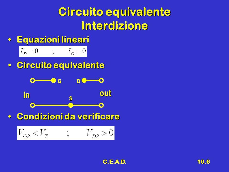 C.E.A.D.10.6 Circuito equivalente Interdizione Equazioni lineariEquazioni lineari Circuito equivalenteCircuito equivalente Condizioni da verificareCon