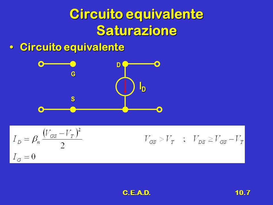C.E.A.D.10.7 Circuito equivalente Saturazione Circuito equivalenteCircuito equivalente G D S IDIDIDID