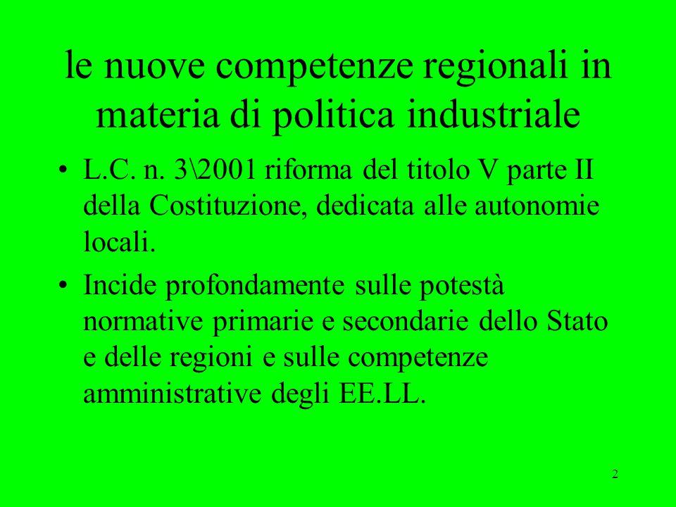 2 le nuove competenze regionali in materia di politica industriale L.C.