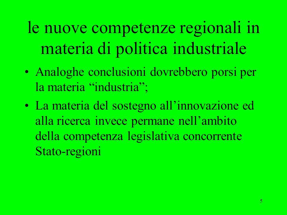 5 le nuove competenze regionali in materia di politica industriale Analoghe conclusioni dovrebbero porsi per la materia industria ; La materia del sostegno all'innovazione ed alla ricerca invece permane nell'ambito della competenza legislativa concorrente Stato-regioni