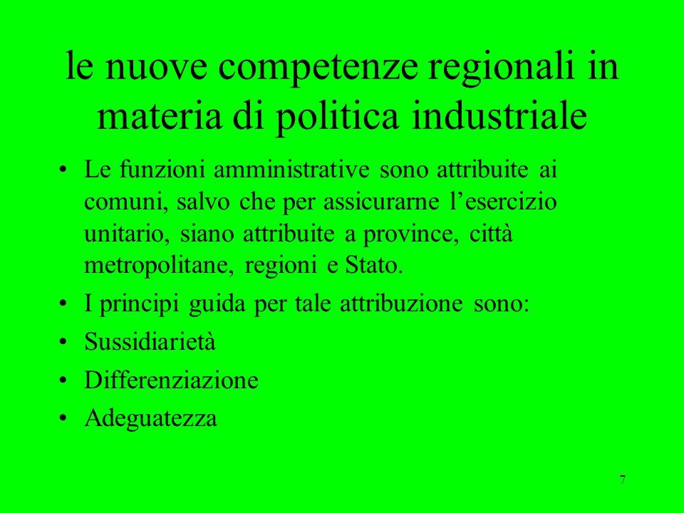 7 le nuove competenze regionali in materia di politica industriale Le funzioni amministrative sono attribuite ai comuni, salvo che per assicurarne l'esercizio unitario, siano attribuite a province, città metropolitane, regioni e Stato.