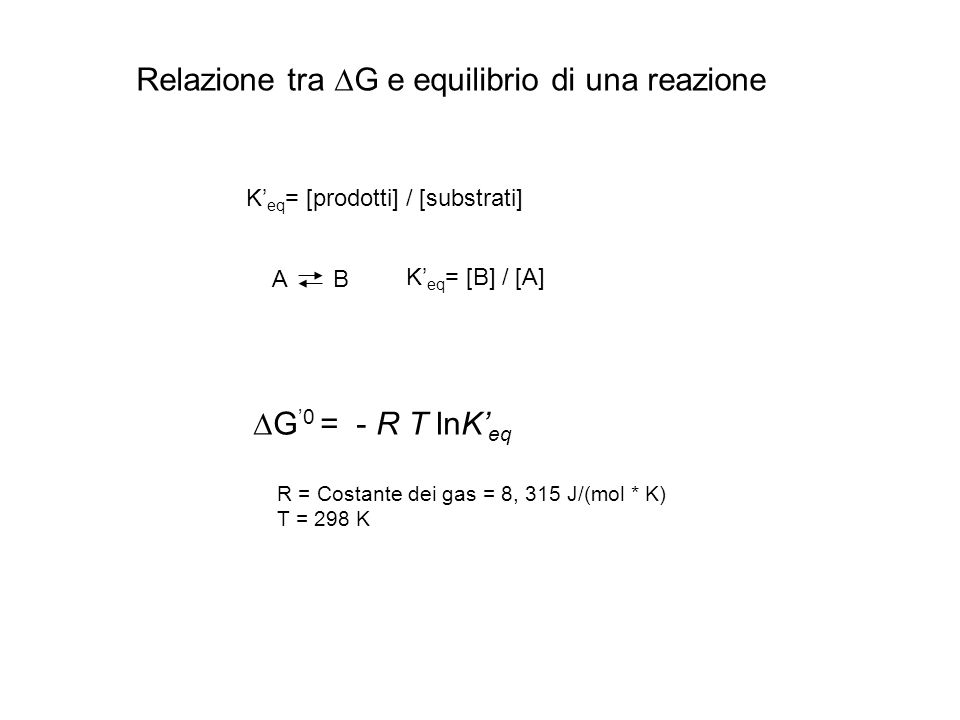 Relazione tra  G e equilibrio di una reazione A B K' eq = [prodotti] / [substrati] K' eq = [B] / [A]  G '0 = - R T lnK' eq R = Costante dei gas = 8,