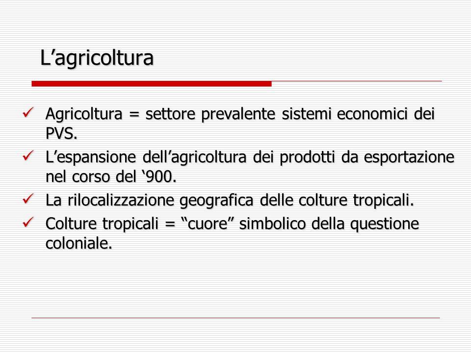 L'agricoltura Agricoltura = settore prevalente sistemi economici dei PVS. Agricoltura = settore prevalente sistemi economici dei PVS. L'espansione del