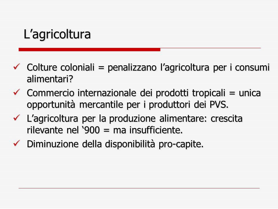 L'agricoltura Colture coloniali = penalizzano l'agricoltura per i consumi alimentari? Colture coloniali = penalizzano l'agricoltura per i consumi alim
