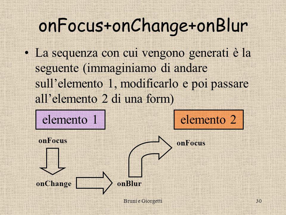 Bruni e Giorgetti29 onBlur Scatenato dalla perdita del focus (duale di onFocus ) con JS1.1+ si applica anche ad oggetti window, frame e frameset, gestendolo nel es.