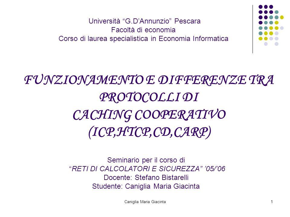 """Caniglia Maria Giacinta1 Università """"G.D'Annunzio"""" Pescara Facoltà di economia Corso di laurea specialistica in Economia Informatica FUNZIONAMENTO E D"""