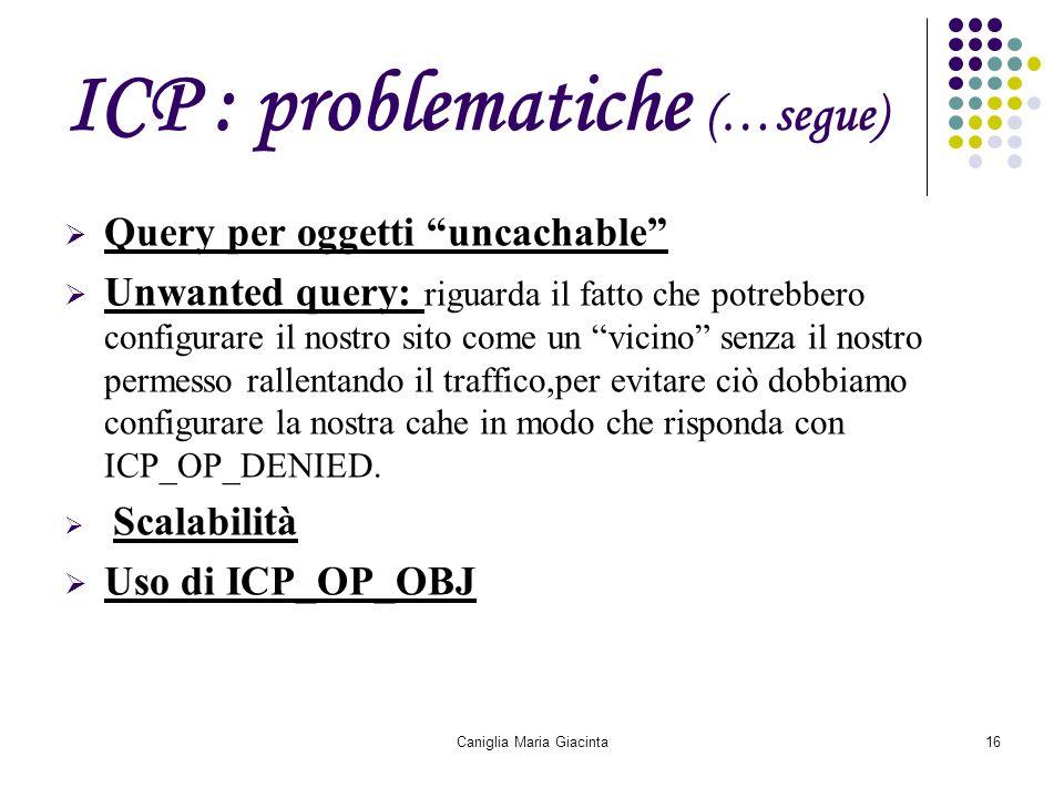 """Caniglia Maria Giacinta16 ICP : problematiche (…segue)  Query per oggetti """"uncachable""""  Unwanted query: riguarda il fatto che potrebbero configurare"""