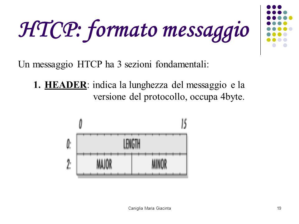 Caniglia Maria Giacinta19 HTCP: formato messaggio Un messaggio HTCP ha 3 sezioni fondamentali: 1.HEADER: indica la lunghezza del messaggio e la versio
