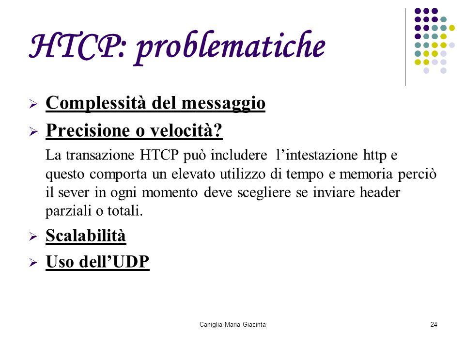 Caniglia Maria Giacinta24 HTCP: problematiche  Complessità del messaggio  Precisione o velocità? La transazione HTCP può includere l'intestazione ht