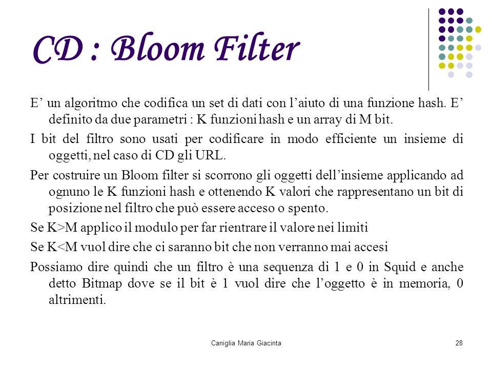 Caniglia Maria Giacinta28 CD : Bloom Filter E' un algoritmo che codifica un set di dati con l'aiuto di una funzione hash. E' definito da due parametri