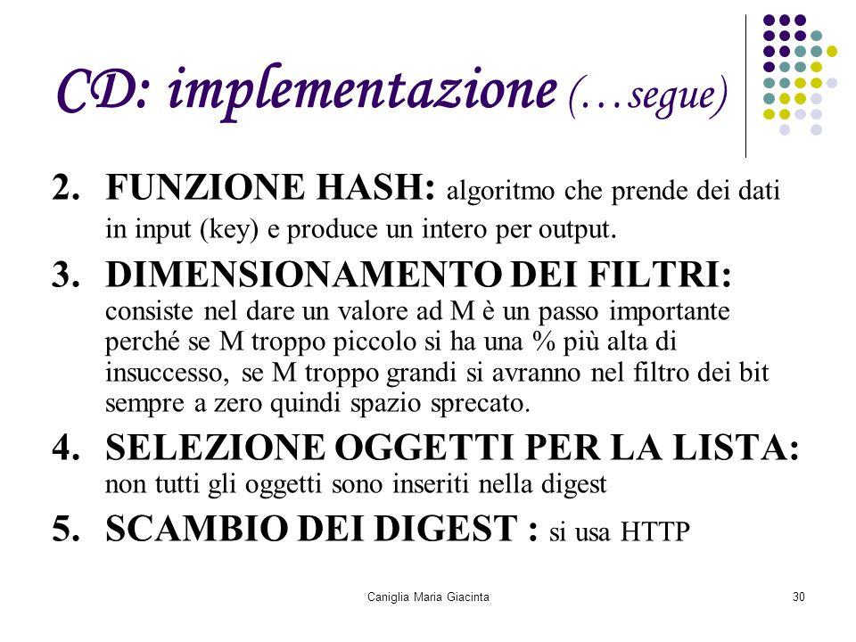 Caniglia Maria Giacinta30 CD: implementazione (…segue) 2.FUNZIONE HASH : algoritmo che prende dei dati in input (key) e produce un intero per output.