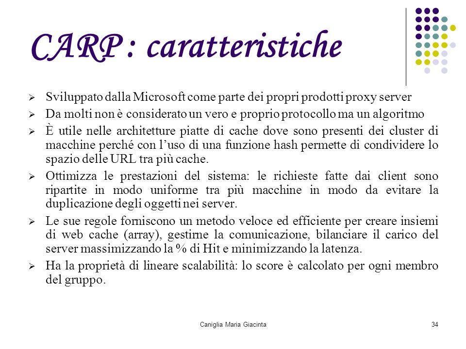 Caniglia Maria Giacinta34 CARP : caratteristiche  Sviluppato dalla Microsoft come parte dei propri prodotti proxy server  Da molti non è considerato