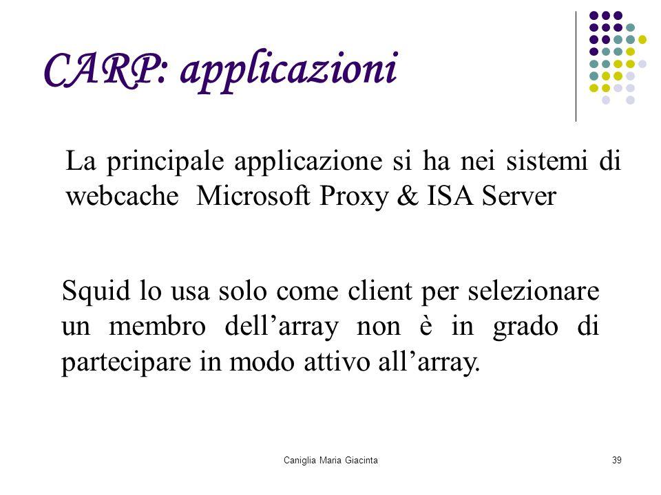 Caniglia Maria Giacinta39 CARP: applicazioni La principale applicazione si ha nei sistemi di webcache Microsoft Proxy & ISA Server Squid lo usa solo c