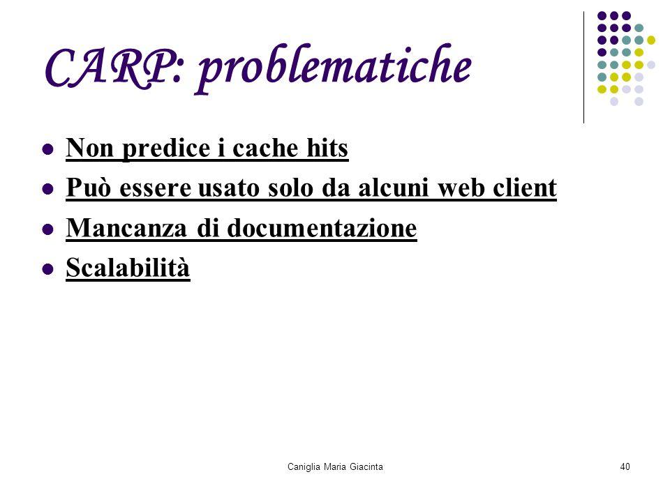 Caniglia Maria Giacinta40 CARP: problematiche Non predice i cache hits Può essere usato solo da alcuni web client Mancanza di documentazione Scalabili