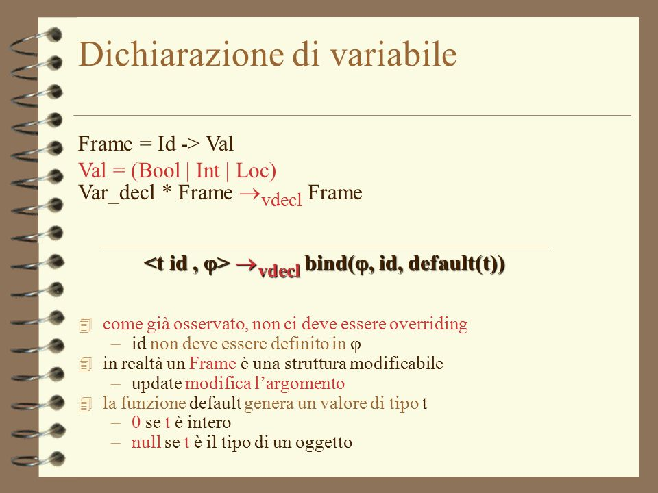 14 Dichiarazione di variabile Frame = Id -> Val Val = (Bool | Int | Loc) Var_decl * Frame  vdecl Frame  vdecl bind( , id, default(t))  vdecl bind(