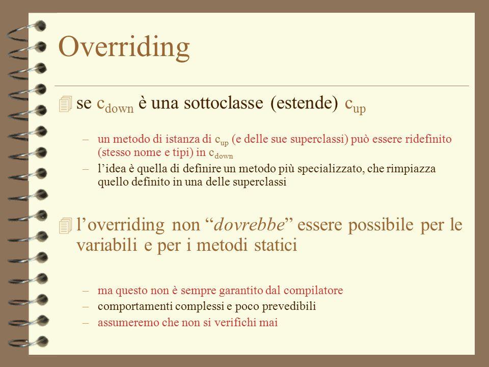 6 Overriding 4 se c down è una sottoclasse (estende) c up –un metodo di istanza di c up (e delle sue superclassi) può essere ridefinito (stesso nome e