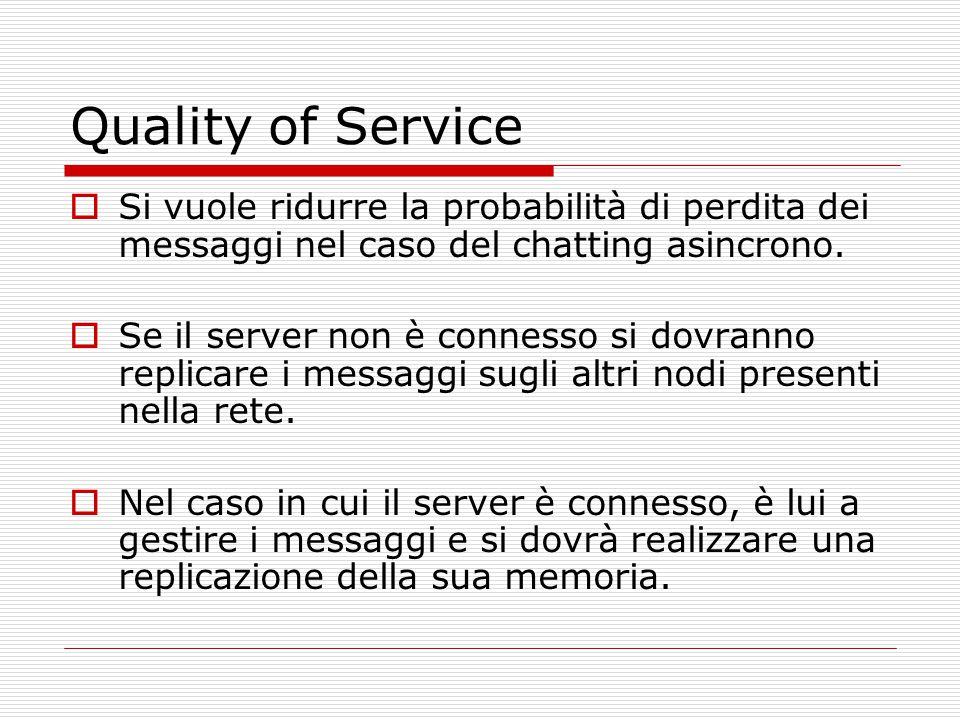 Quality of Service  Si vuole ridurre la probabilità di perdita dei messaggi nel caso del chatting asincrono.