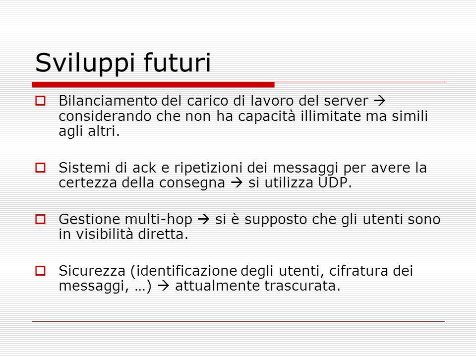 Sviluppi futuri  Bilanciamento del carico di lavoro del server  considerando che non ha capacità illimitate ma simili agli altri.