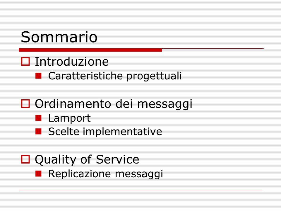 Sommario  Introduzione Caratteristiche progettuali  Ordinamento dei messaggi Lamport Scelte implementative  Quality of Service Replicazione messaggi