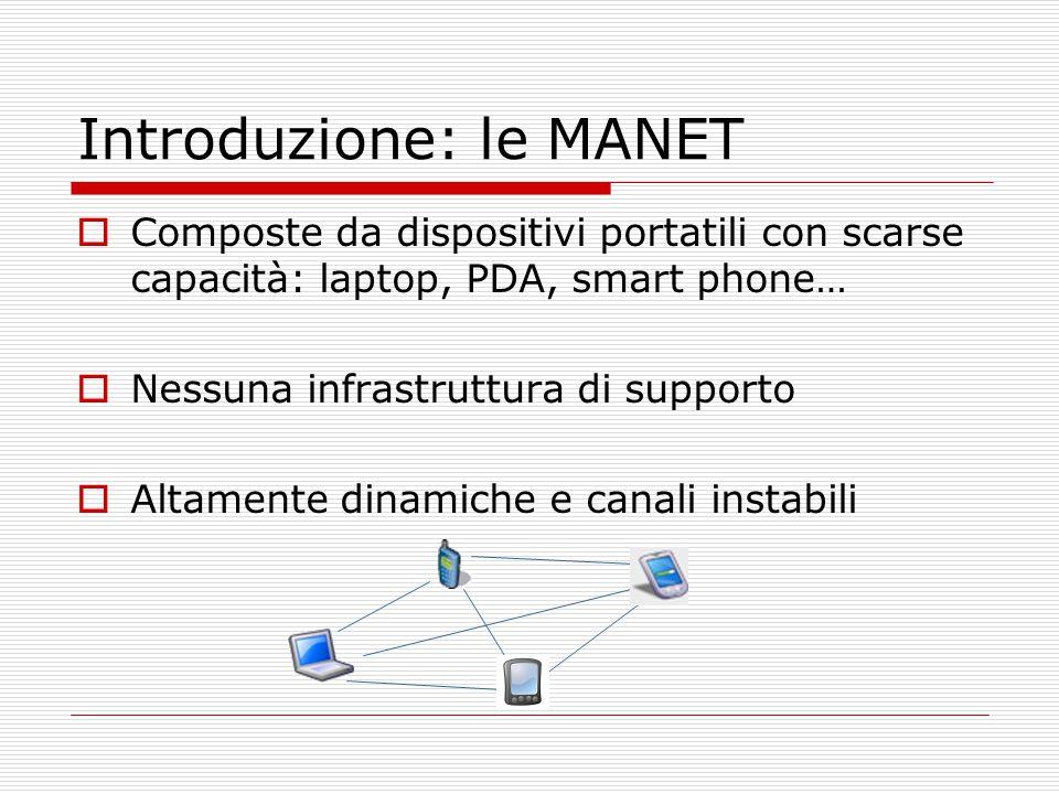 Introduzione: le MANET  Composte da dispositivi portatili con scarse capacità: laptop, PDA, smart phone…  Nessuna infrastruttura di supporto  Altamente dinamiche e canali instabili
