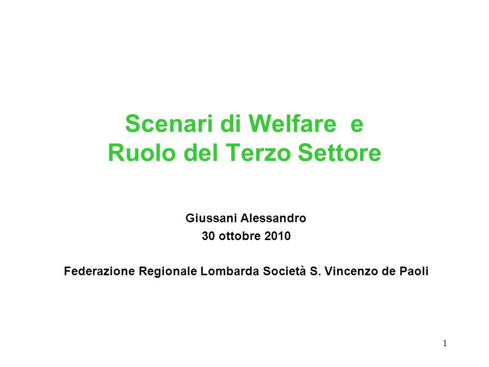 1 Scenari di Welfare e Ruolo del Terzo Settore Giussani Alessandro 30 ottobre 2010 Federazione Regionale Lombarda Società S. Vincenzo de Paoli