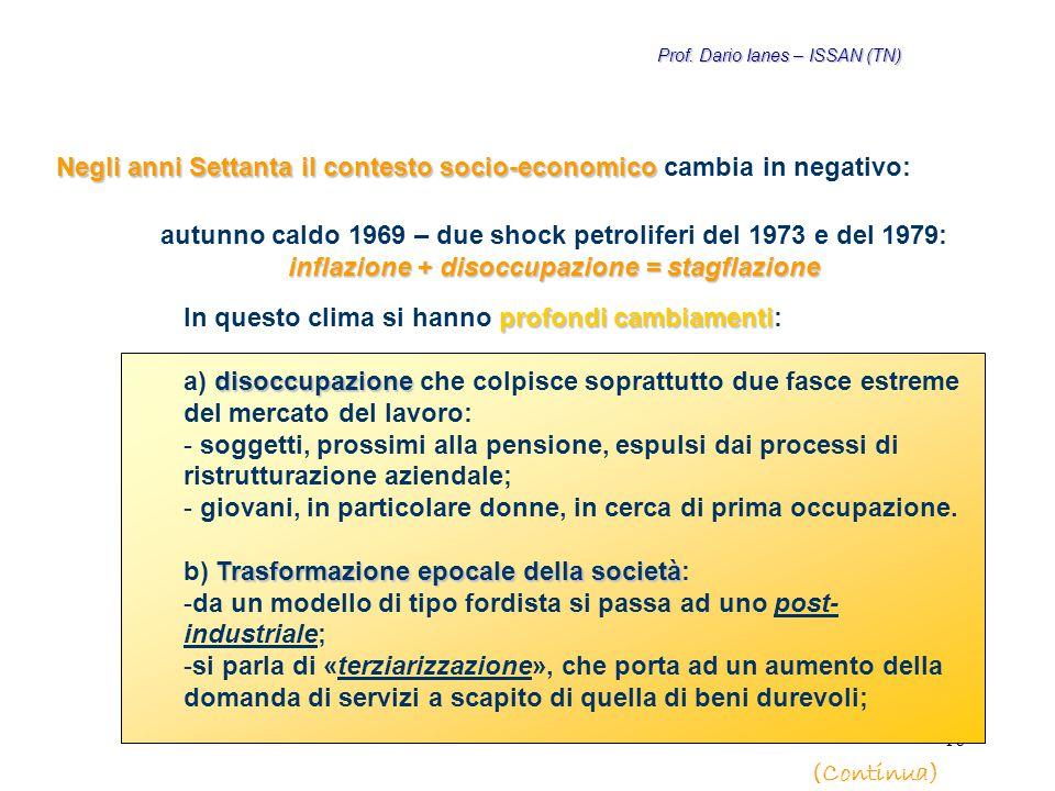 16 Negli anni Settanta il contesto socio-economico Negli anni Settanta il contesto socio-economico cambia in negativo: profondi cambiamenti In questo