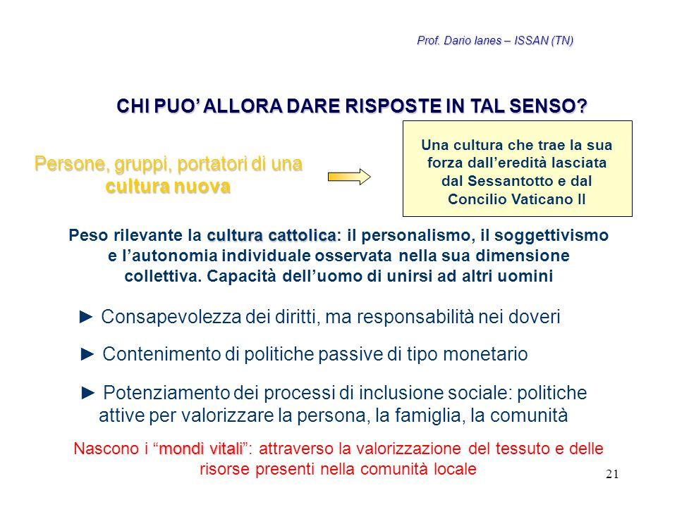 21 Persone, gruppi, portatori di una cultura nuova Una cultura che trae la sua forza dall'eredità lasciata dal Sessantotto e dal Concilio Vaticano II