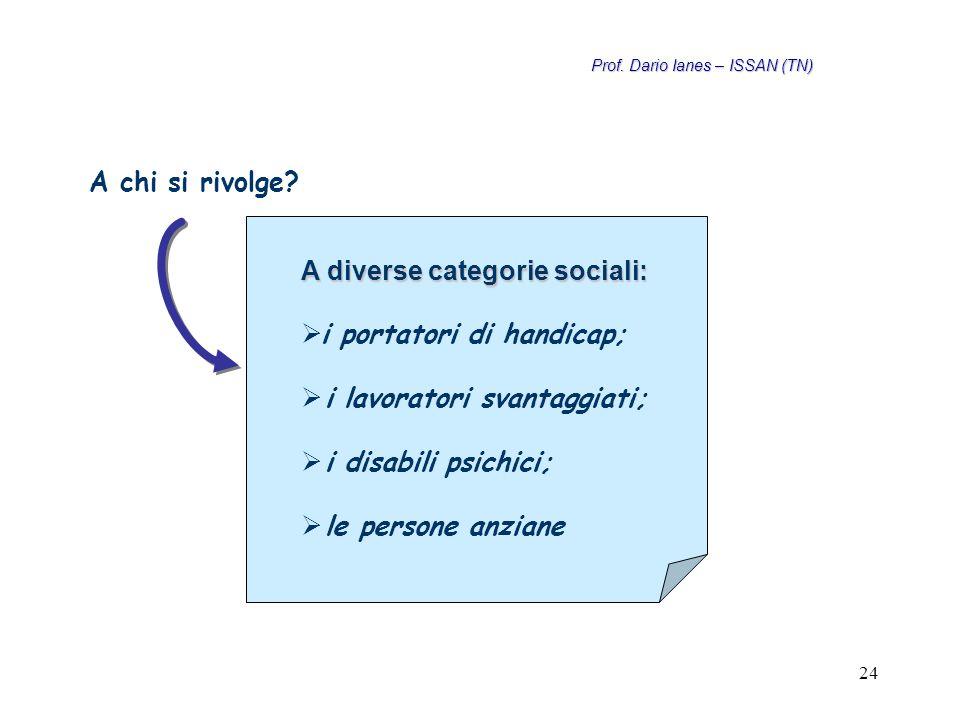 24 A diverse categorie sociali:   i portatori di handicap;   i lavoratori svantaggiati;   i disabili psichici;   le persone anziane A chi si rivolge.