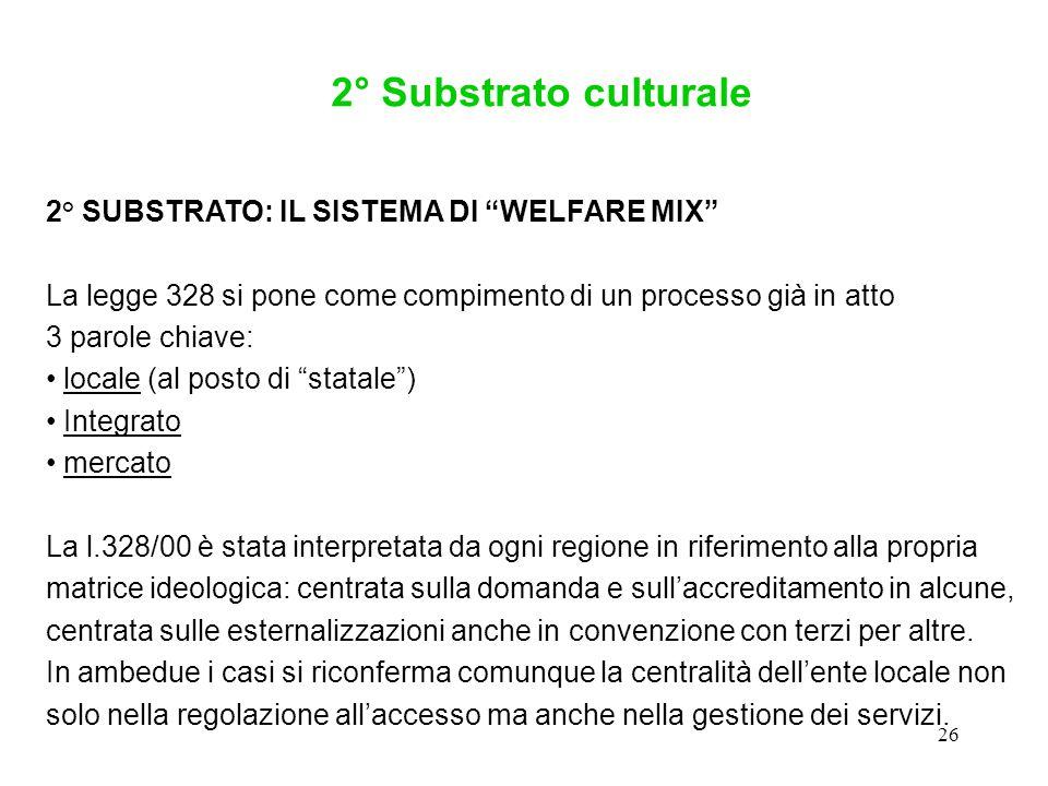 """26 2° SUBSTRATO: IL SISTEMA DI """"WELFARE MIX"""" La legge 328 si pone come compimento di un processo già in atto 3 parole chiave: locale (al posto di """"sta"""