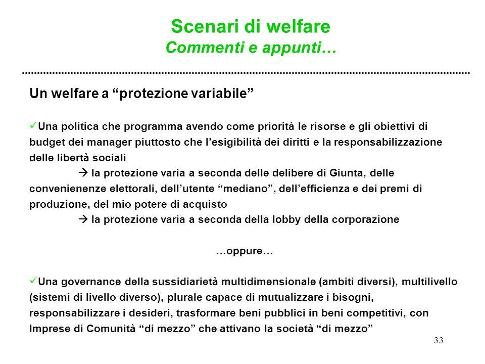 """33 Un welfare a """"protezione variabile"""" Una politica che programma avendo come priorità le risorse e gli obiettivi di budget dei manager piuttosto che"""