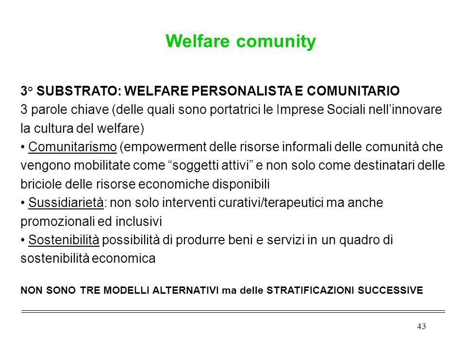 43 3° SUBSTRATO: WELFARE PERSONALISTA E COMUNITARIO 3 parole chiave (delle quali sono portatrici le Imprese Sociali nell'innovare la cultura del welfa