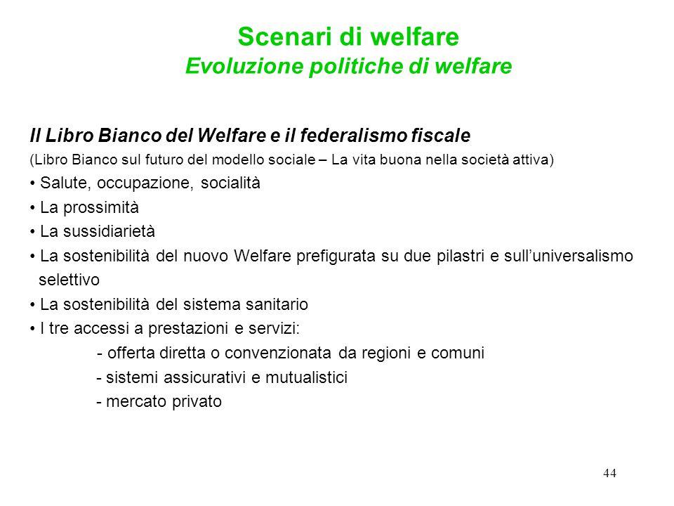 44 Il Libro Bianco del Welfare e il federalismo fiscale (Libro Bianco sul futuro del modello sociale – La vita buona nella società attiva) Salute, occ