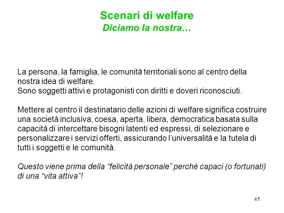 45 La persona, la famiglia, le comunità territoriali sono al centro della nostra idea di welfare.