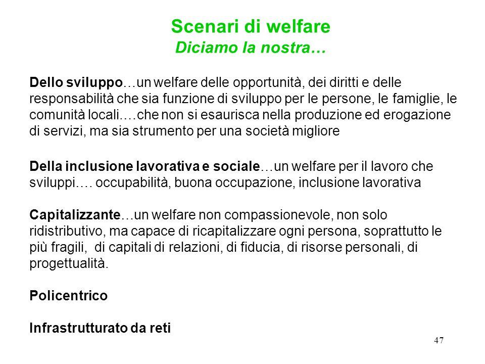 47 Dello sviluppo…un welfare delle opportunità, dei diritti e delle responsabilità che sia funzione di sviluppo per le persone, le famiglie, le comuni