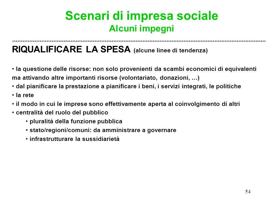 54 RIQUALIFICARE LA SPESA (alcune linee di tendenza) la questione delle risorse: non solo provenienti da scambi economici di equivalenti ma attivando