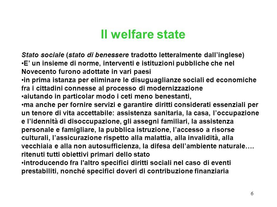 6 Stato sociale (stato di benessere tradotto letteralmente dall'inglese) E' un insieme di norme, interventi e istituzioni pubbliche che nel Novecento