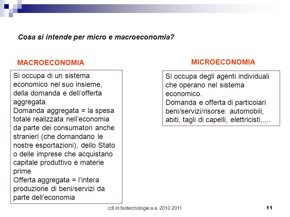 cdl in biotecnologie a.a.2010 201111 Cosa si intende per micro e macroeconomia.