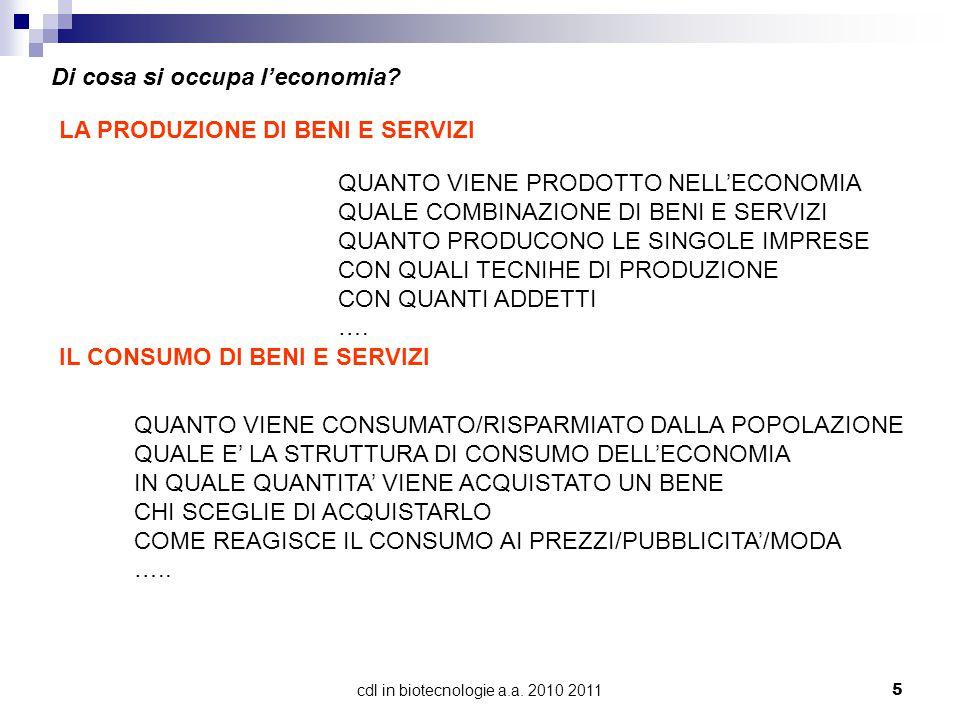 cdl in biotecnologie a.a.2010 20115 Di cosa si occupa l'economia.