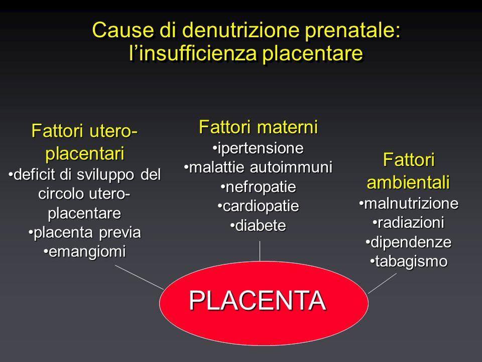Cause di denutrizione prenatale: l'insufficienza placentare PLACENTA Fattori utero- placentari deficit di sviluppo del circolo utero- placentaredeficit di sviluppo del circolo utero- placentare placenta previaplacenta previa emangiomiemangiomi Fattori materni ipertensioneipertensione malattie autoimmunimalattie autoimmuni nefropatienefropatie cardiopatiecardiopatie diabetediabete Fattori ambientali malnutrizionemalnutrizione radiazioniradiazioni dipendenzedipendenze tabagismotabagismo