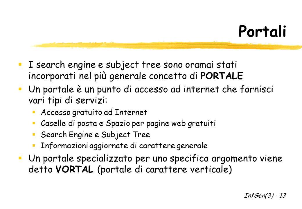 Portali  I search engine e subject tree sono oramai stati incorporati nel più generale concetto di PORTALE  Un portale è un punto di accesso ad inte
