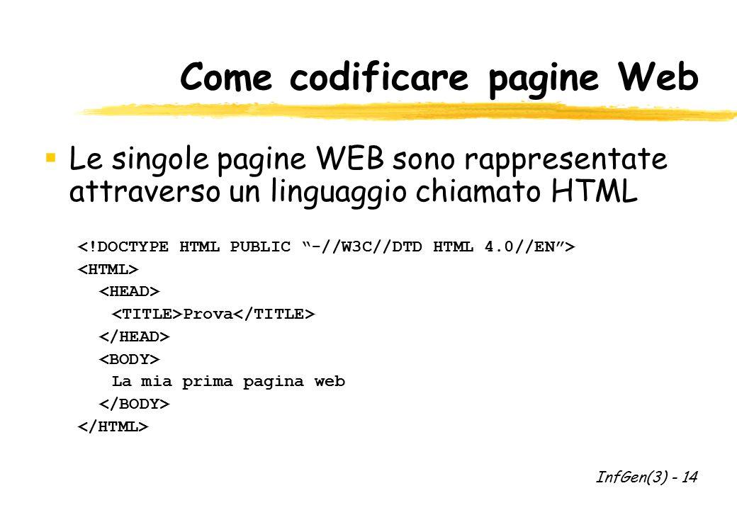Come codificare pagine Web  Le singole pagine WEB sono rappresentate attraverso un linguaggio chiamato HTML Prova La mia prima pagina web InfGen(3) -