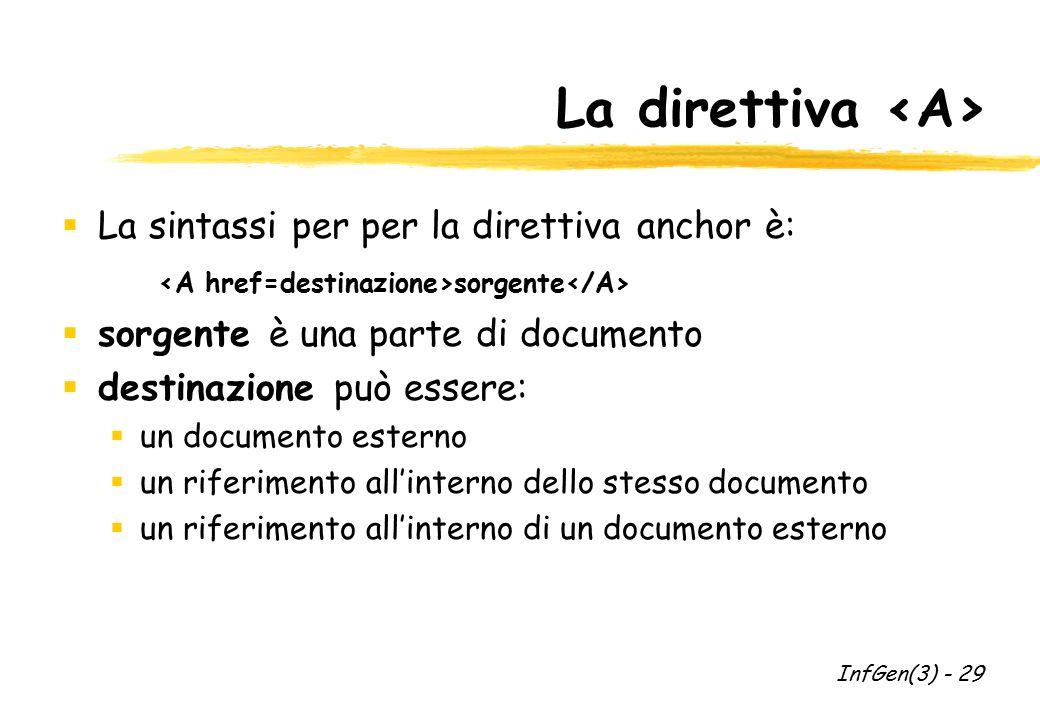 La direttiva  La sintassi per per la direttiva anchor è: sorgente  sorgente è una parte di documento  destinazione può essere:  un documento ester