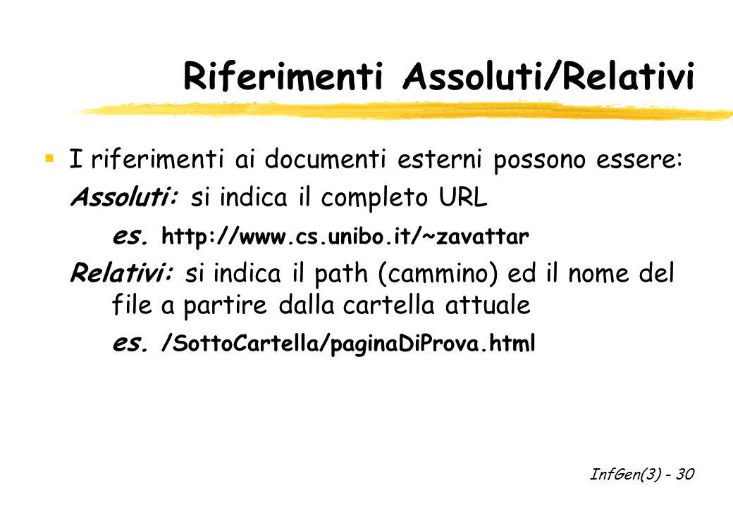 Riferimenti Assoluti/Relativi  I riferimenti ai documenti esterni possono essere: Assoluti: si indica il completo URL es. http://www.cs.unibo.it/~zav