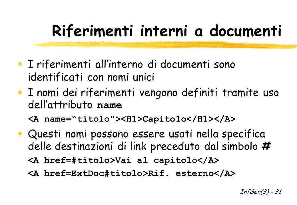 Riferimenti interni a documenti  I riferimenti all'interno di documenti sono identificati con nomi unici  I nomi dei riferimenti vengono definiti tr
