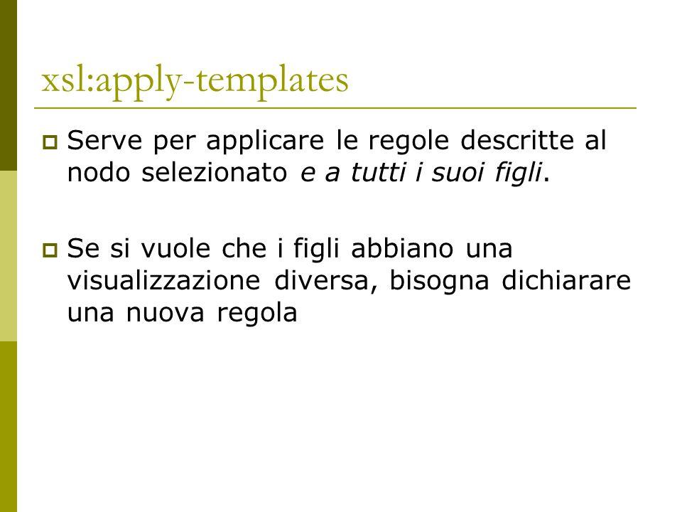 xsl:apply-templates  Serve per applicare le regole descritte al nodo selezionato e a tutti i suoi figli.  Se si vuole che i figli abbiano una visual