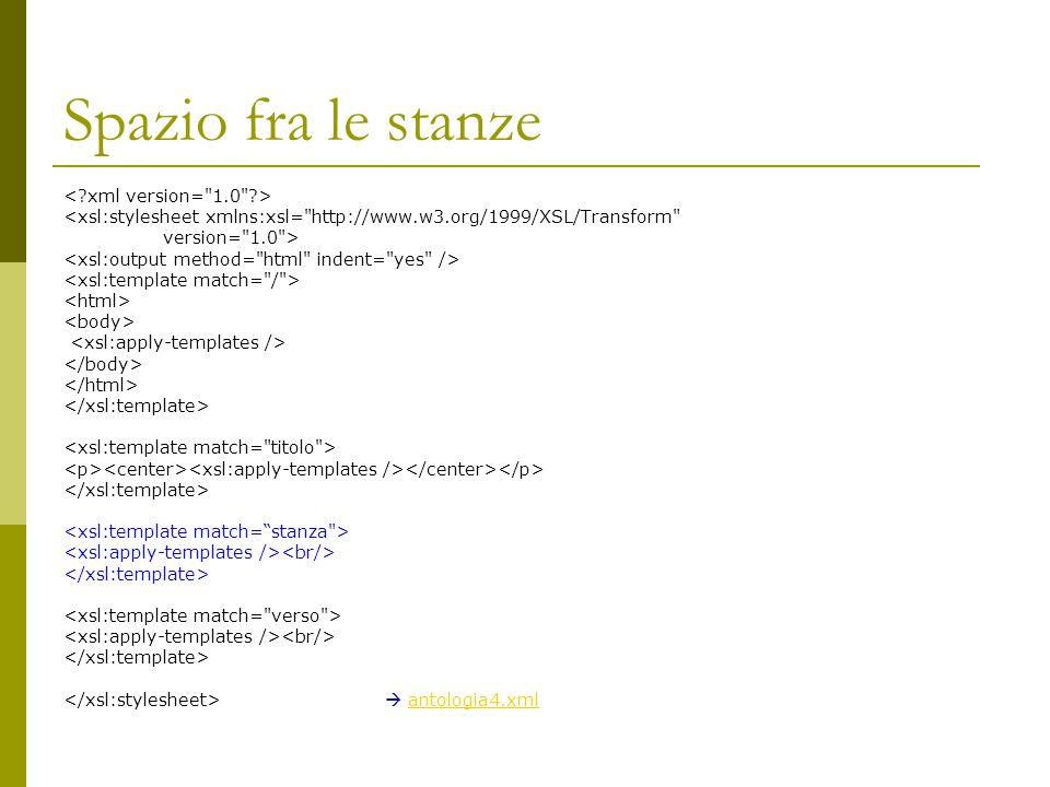 Spazio fra le stanze <xsl:stylesheet xmlns:xsl=